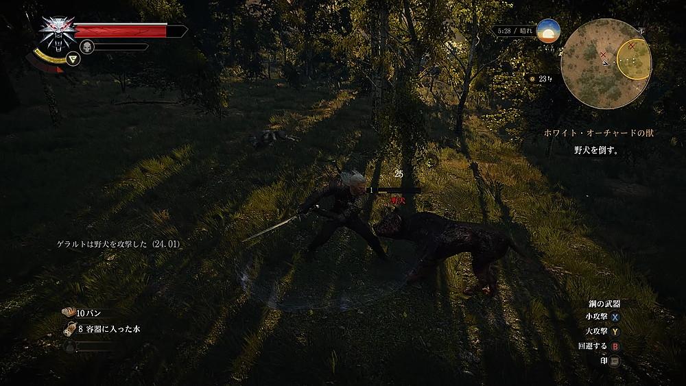 野犬と戦うゲラルト - Witcher 3