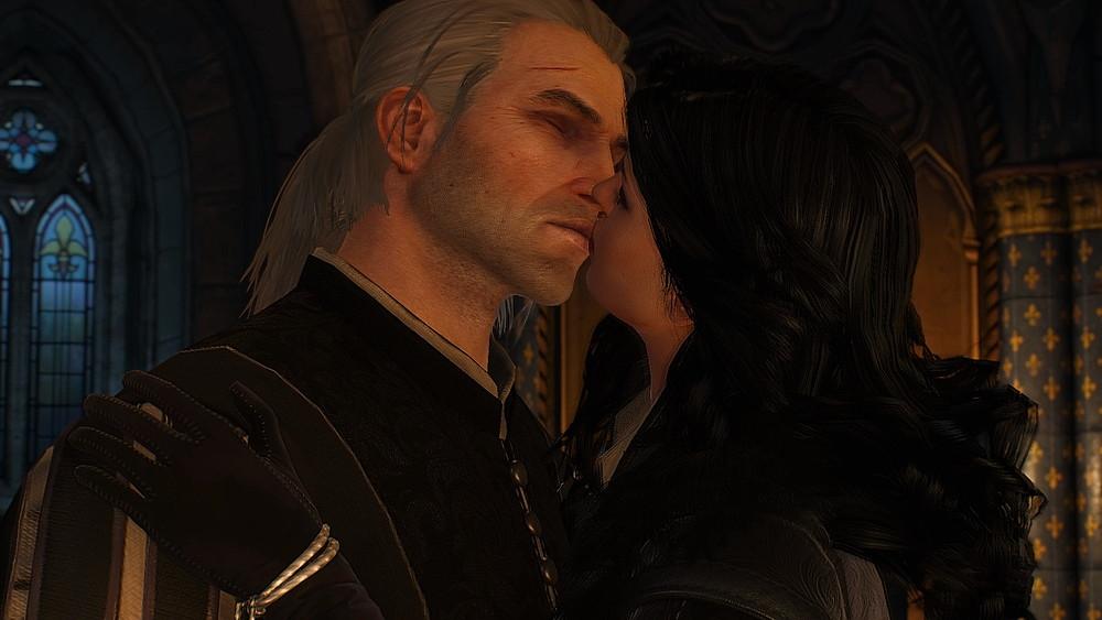 キスを交わすイェネファーとゲラルト - Witcher 3