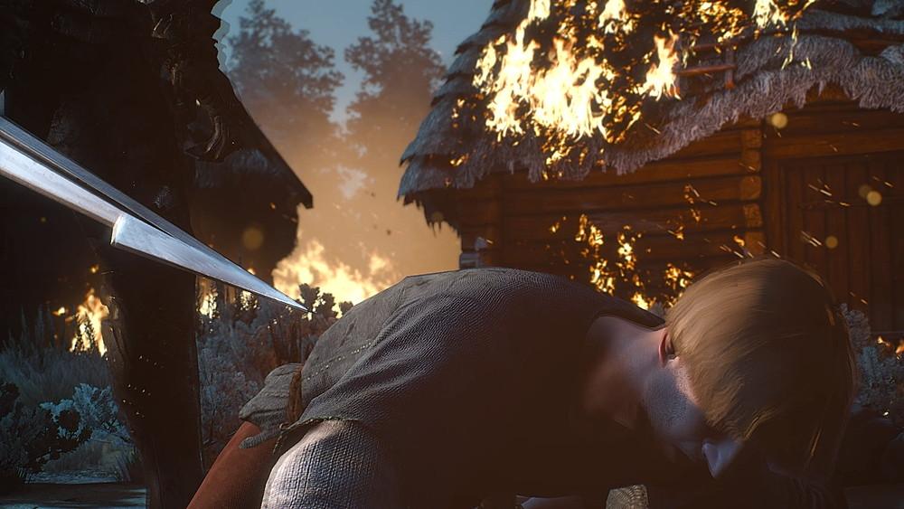 ワイルドハントに襲われる村人 - Witcher 3