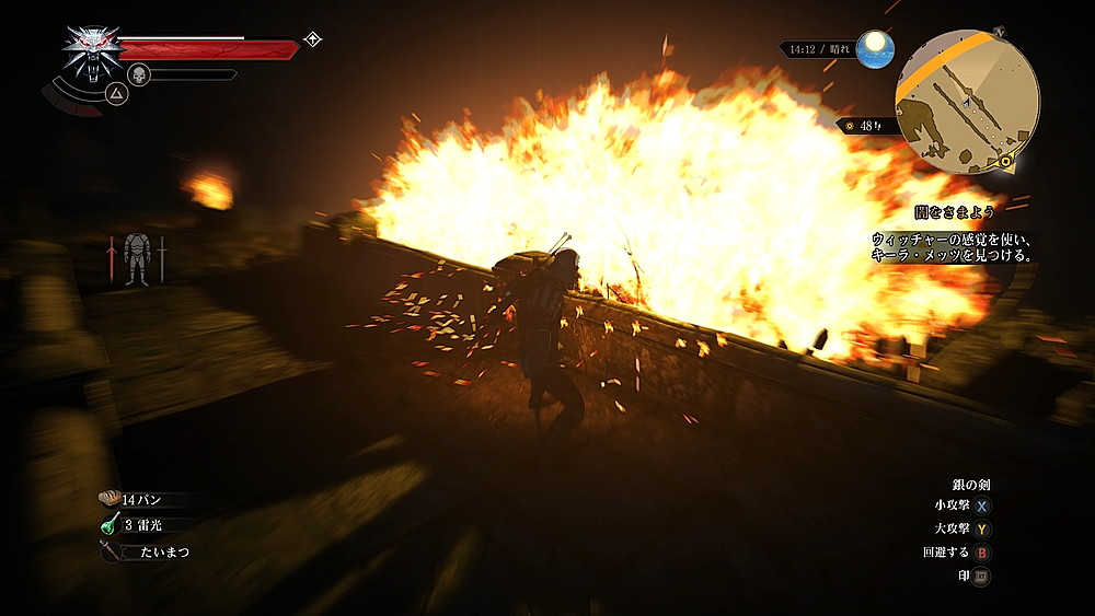 爆炎に包まれるドラウナー - Witcher 3