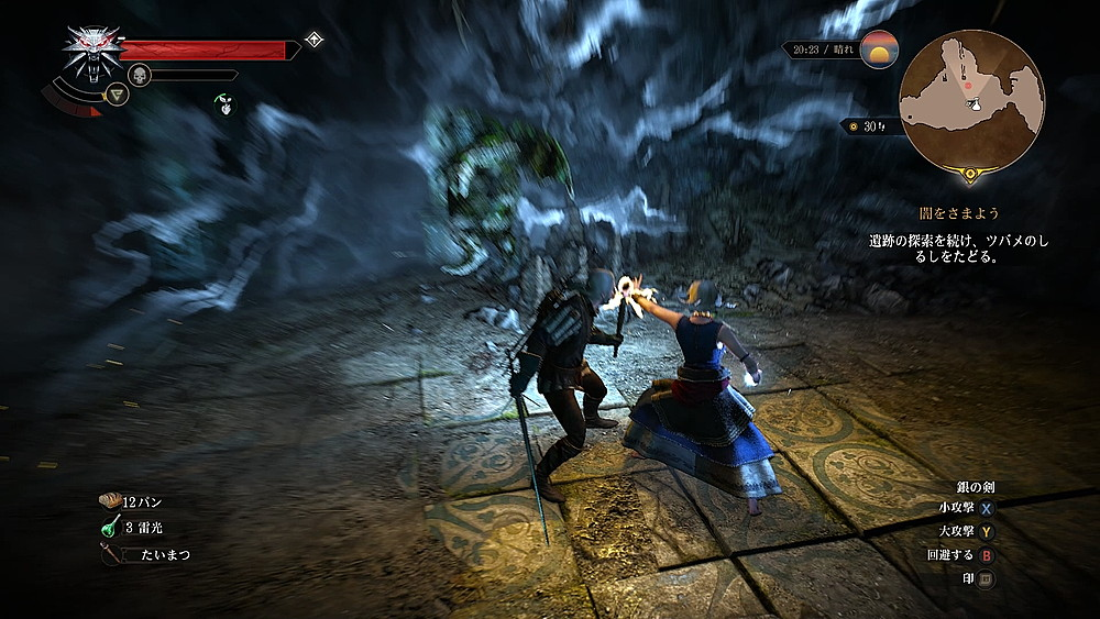 キーラの魔法がガーゴイルに炸裂 - Witcher 3