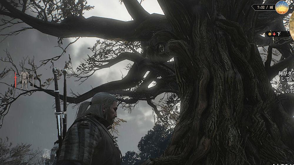 「囁きの丘」に立つ太い幹の木 - Witcher 3
