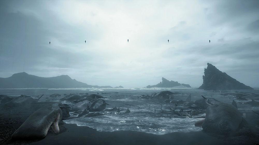 波打ち際のおびただしい数のクジラや魚の死体 - Death Stranding