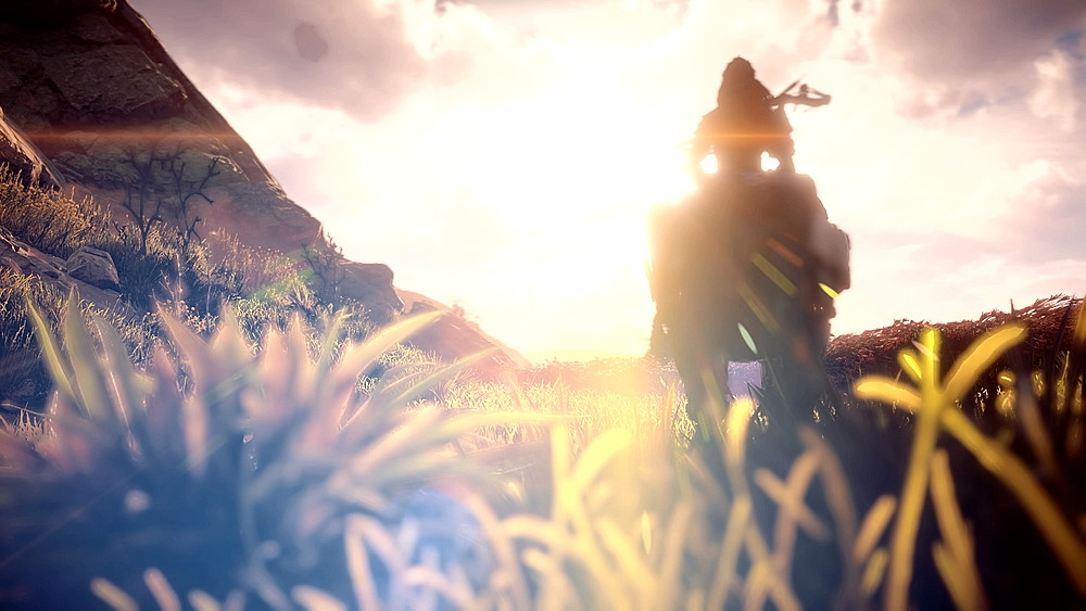 太陽に向かって進むアーロイ - Horizon Zero Dawn