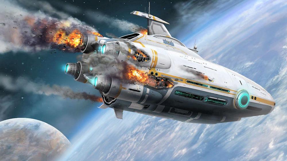 墜落するオーロラ号