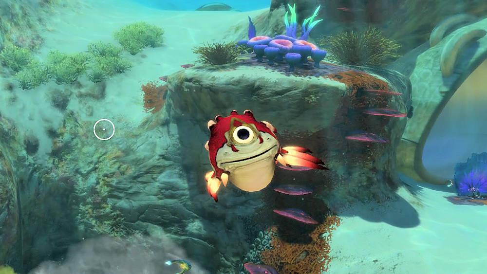 突進してくる赤い魚